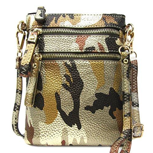 Solene Women's Faux Leather Organizer Multi Zipper Pockets Handbag With Detachable Wristlet Crossbody Bag (METALLIC BROWN/GOLD) (Metallic Multi Strap)