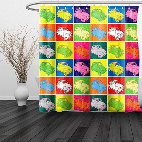 Percy 3 Car (HAIXIA Shower Curtain Cars Italian Cars in Colorful Frames and Pop Art Style Grunge Display Artful Composition Multicolor)