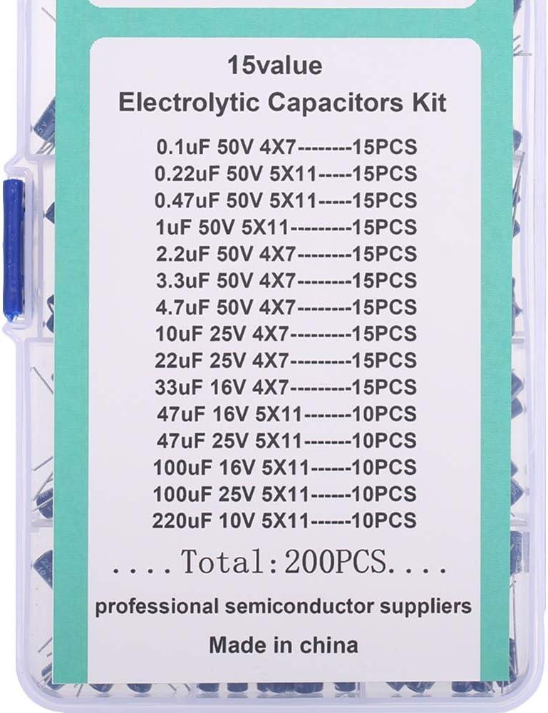 DollaTek 200pcs 15Values Range 0.1uF-220uF Electrolytic Capacitors Assortment Kit