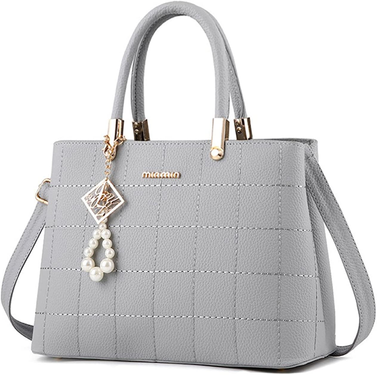 Ruiyee Womens Top Handle Satchel Handbags New Pearl Pendant Embroidered lady Shoulder Bag Messenger Tote Bag Purse PU Leather grey