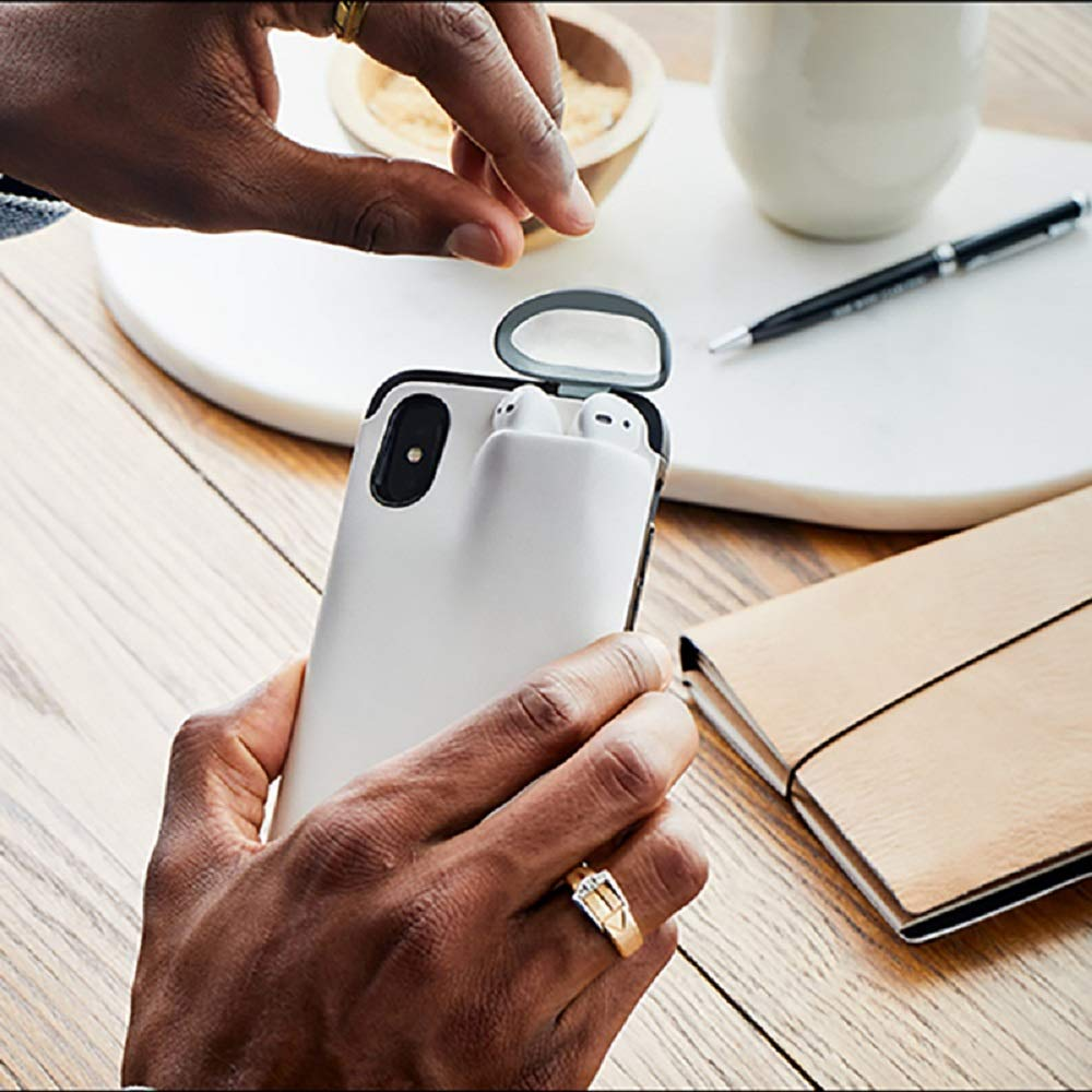 For iPhone XR 6.1inch, White DAYA 2 in 1 for Iphone/&Airpods case,Slim Rubber Anti-Scratch Skin Protective Bumper Cover
