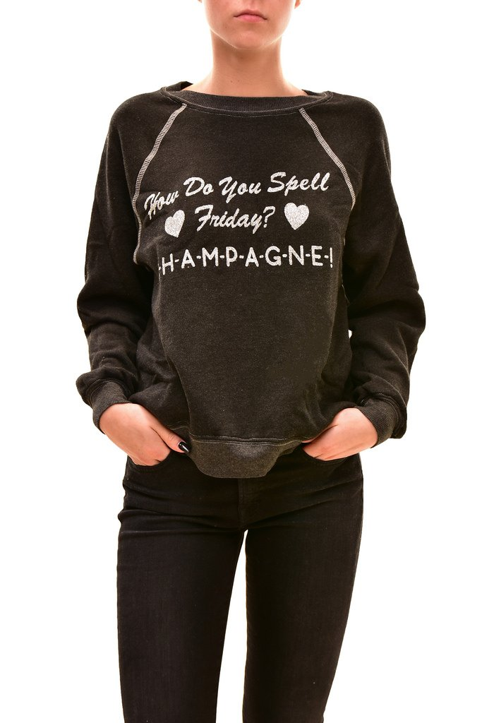 Wildfox Women's Summer Finally Friday Sweater Clean Black M