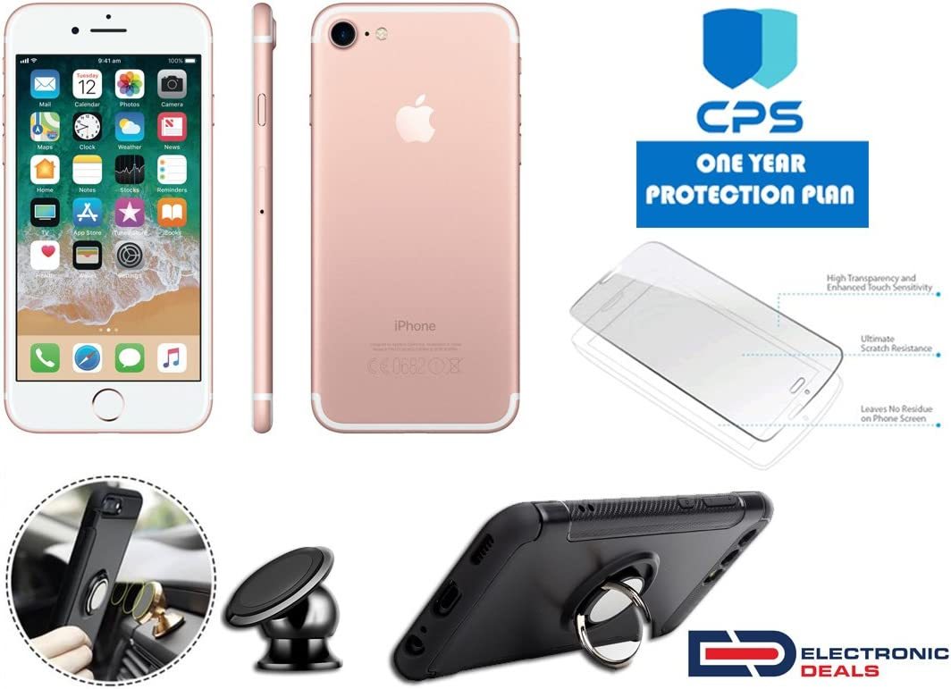 Amazon Com Apple Iphone 7 Gsm Unlocked W Ed Bundle 99 Value Bundle Includes Ring Case Holder Magnetic Screen Protector 1y Cps Limited Warranty Rose Gold 128gb Certified Refurbished