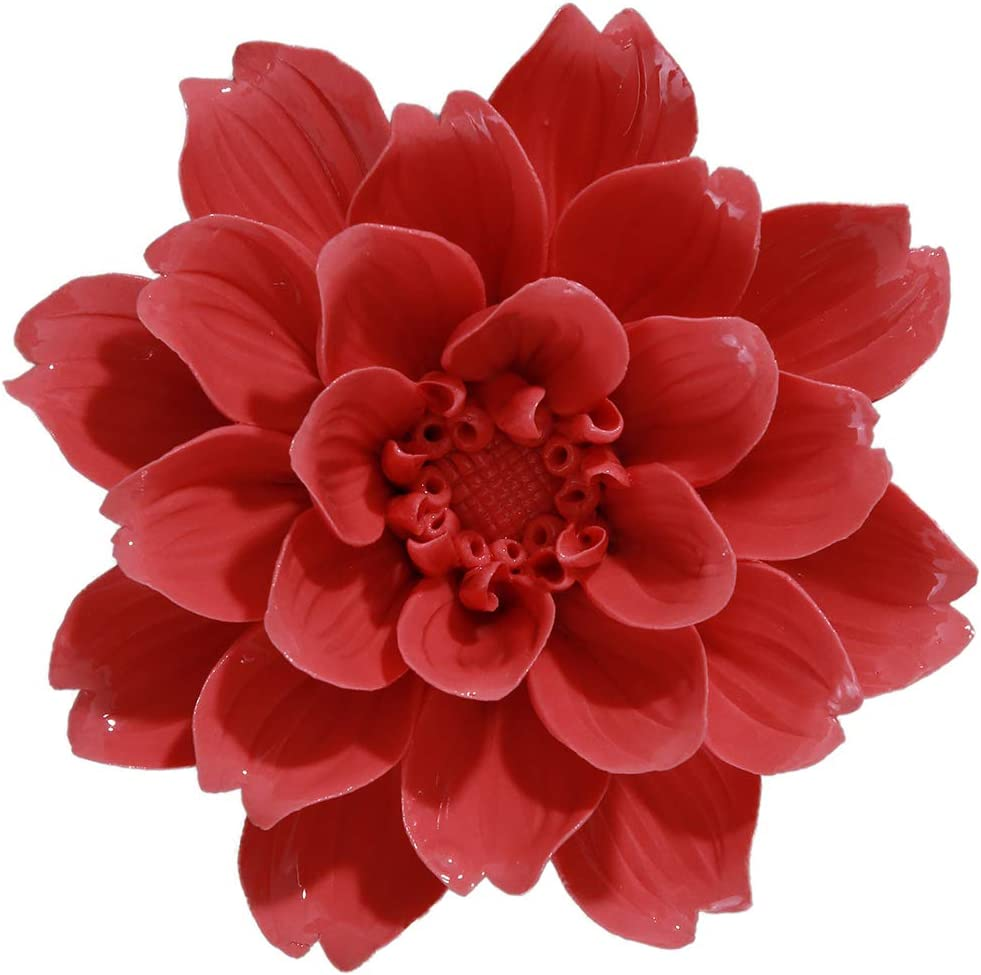 ALYCASO Ceramic Flower Wall Décor Artificial 3D Flower Wall Art for Living Room Home Hallway Bedroom Kitchen Farmhouse Bathroom Dining Room, Tianzhu Peony, Red, 4.13 inch