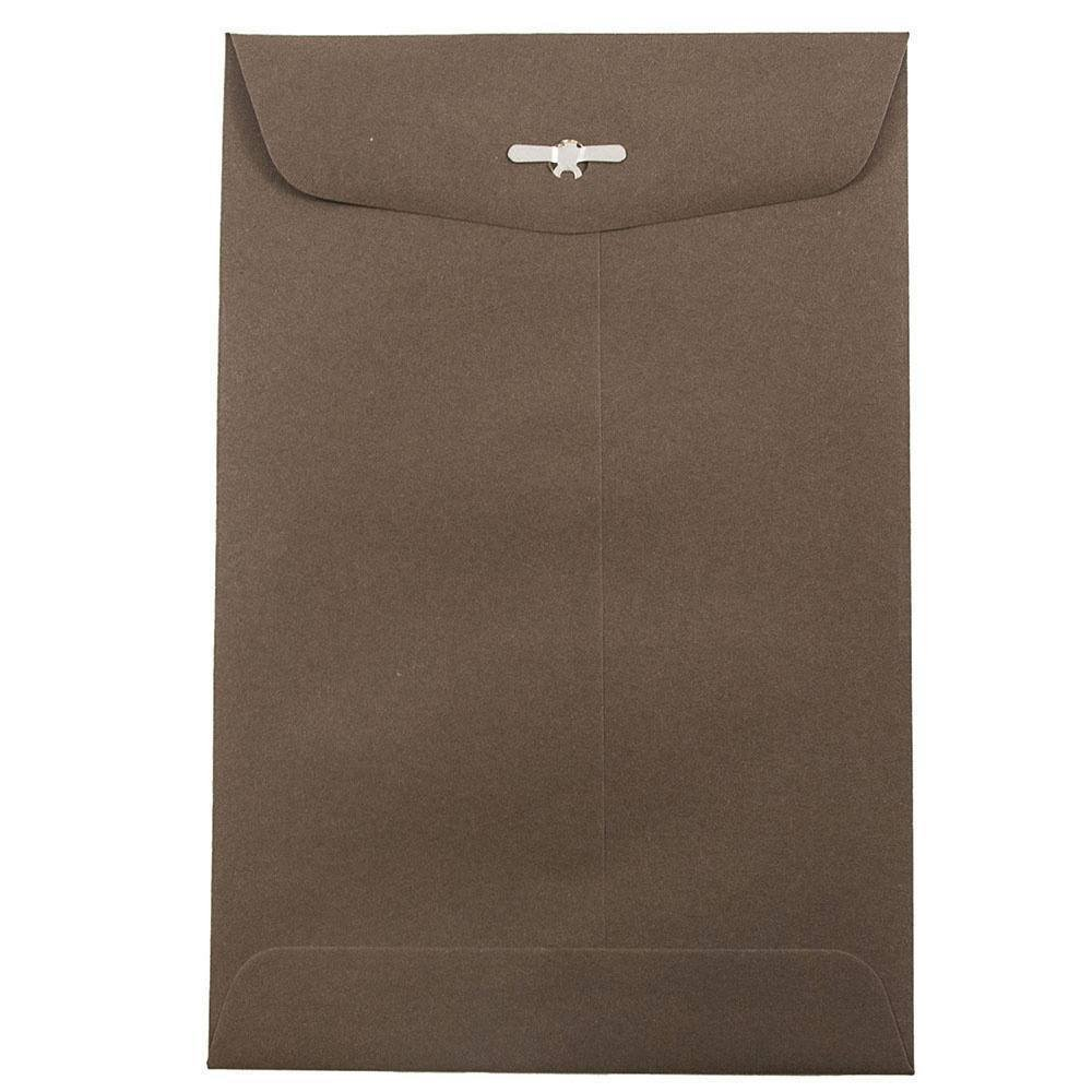 JAM PAPER 6 x 9 Premium Invitation Envelopes with Clasp Closure - Chocolate Brown Recycled - 50/Pack by JAM Paper (Image #1)