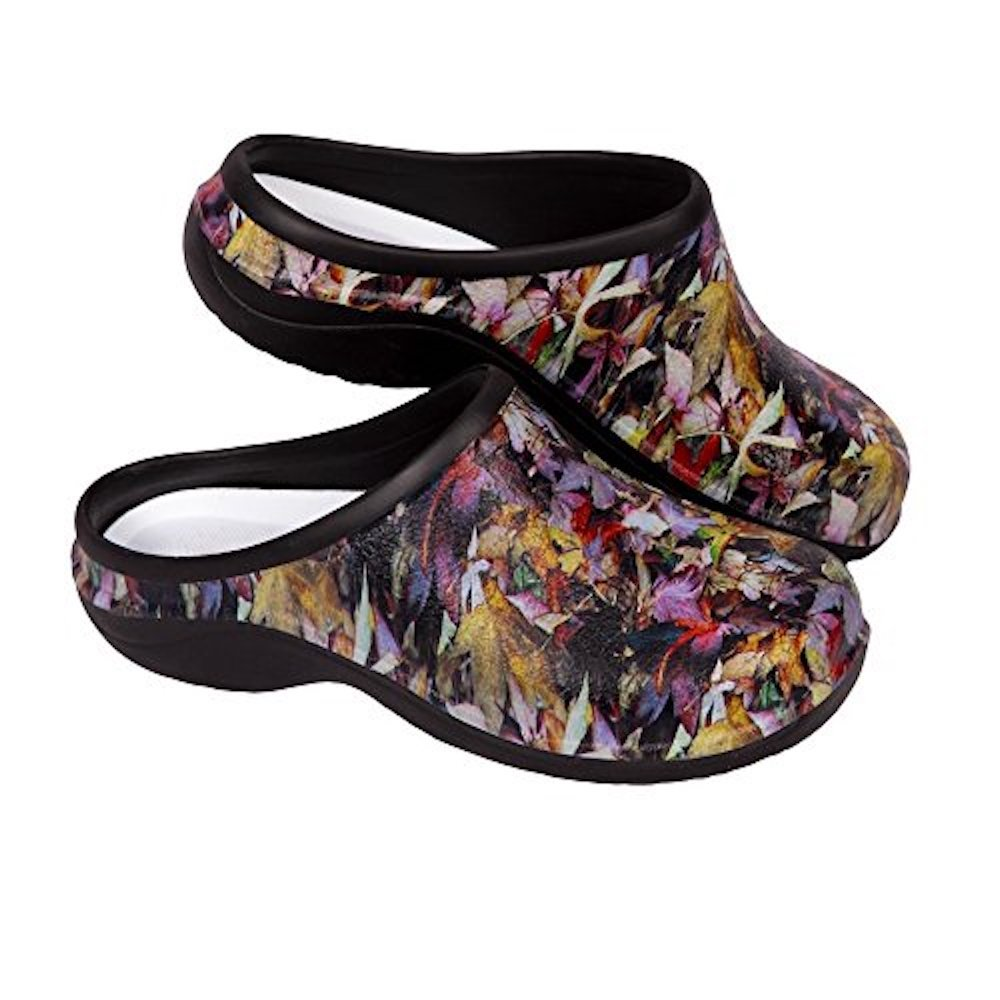 Backdoorshoes Waterproof Premium Garden Clogs with Arch Support -Leaves Design by (8, Leaves)