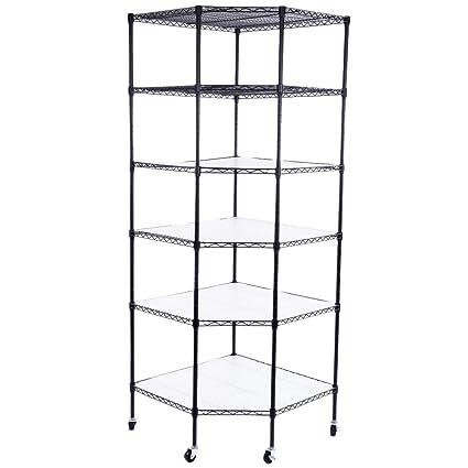 Black Wire Corner Shelf | Amazon Com Azadx 6 Tiers Corner Shelf Adjustable Metal Storage