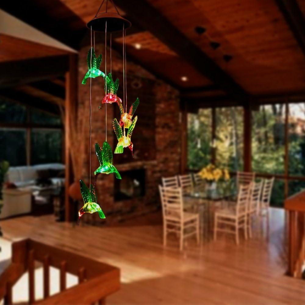 Romote colibrí Solar Wind Chimes, LED cambio de color de la luz móvil de viento, impermeable 6 colibrí viento, para decoración del hogar, fiesta, jardín: Amazon.es: Hogar