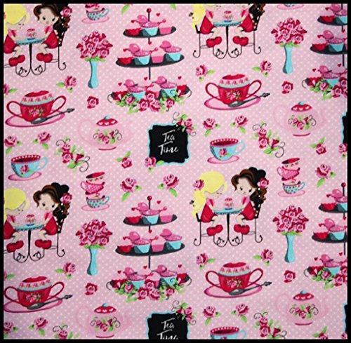 (Euro Oeko-Tex Knit Tea Party FunDesign Fabric By the Yard, 92% Cotton, 8% Lycra, 60 Inches Wide, 4 Way Stretch, Medium Weight (1)
