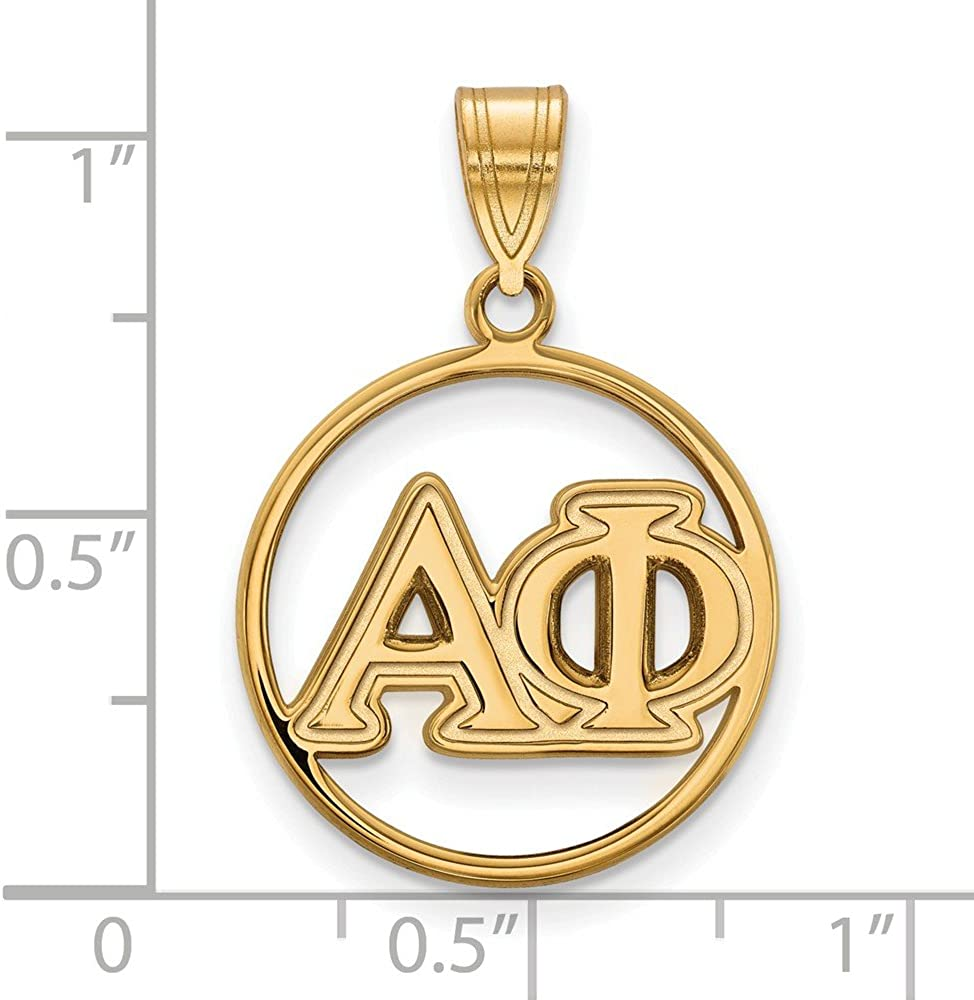 925 Sterling Silver Yellow Gold-Plated Official Alpha Phi Medium Circle Pendant Charm 25mm x 18mm