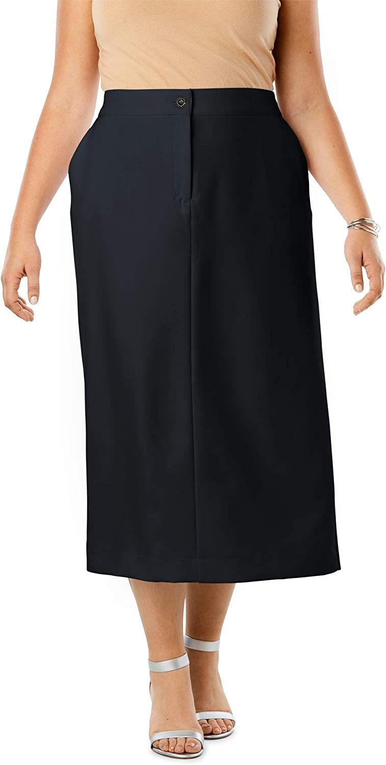 1930s Style Skirts : Midi Skirts, Tea Length, Pleated Jessica London Womens Plus Size Tummy Control Bi-Stretch Midi Skirt $32.91 AT vintagedancer.com