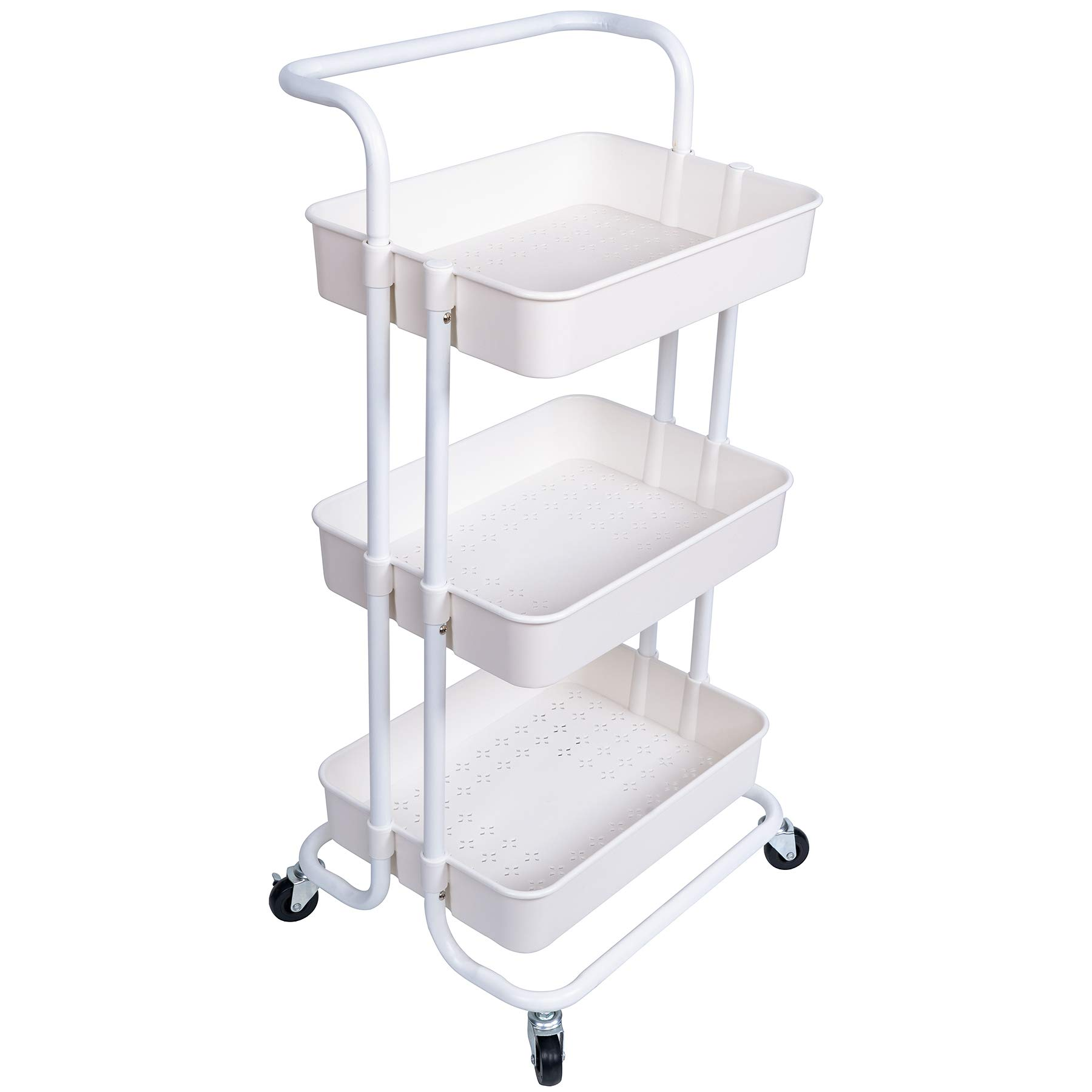 NiDream Bedding 3-Tier Rolling Utility Cart, Storage Trolley Cart, Heavy Duty Mobile Storage Organizer with Handles and Lockable Wheels, Bathroom Storage Cart with Mesh Baskets, White by NiDream Bedding