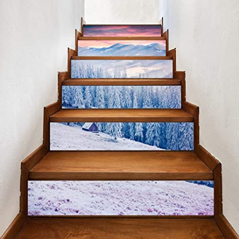 MU Etiquetas engomadas de la Escalera de Bricolaje de Seguridad Resistente al Desgaste, Escena de la Nieve del Bosque 3D Pegatinas Pegatinas Decoración de la Pared del Piso Etiqueta de la decoración: