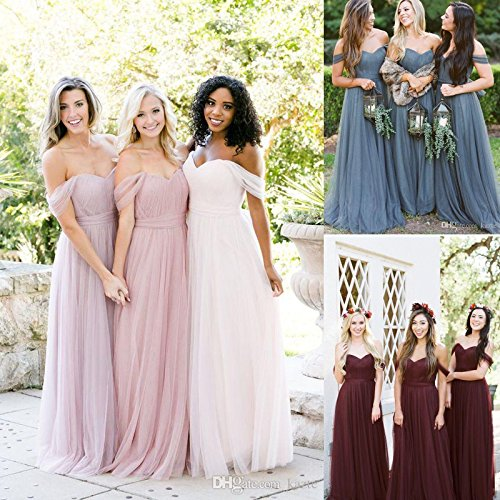 Dresses Off The Wedding Bridesmaid Light Tulle Yellow Party Women's 2018 Long Fanciest Shoulder Dress 0EqUx5w