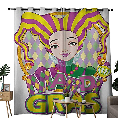 NUOMANAN Decor Curtains by Mardi Gras,Carnival Girl in Harlequin Costume and Hat Cartoon Fat Tuesday Theme,Yellow Purple Green,Wide Blackout Curtains, Keep Warm Draperies, Set of 2 52