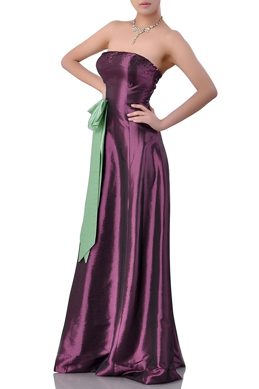 2ca15ac11bf5 Adorona Natrual Taffeta A-line Strapless Long Bridesmaid Dresses:  Amazon.co.uk: Clothing