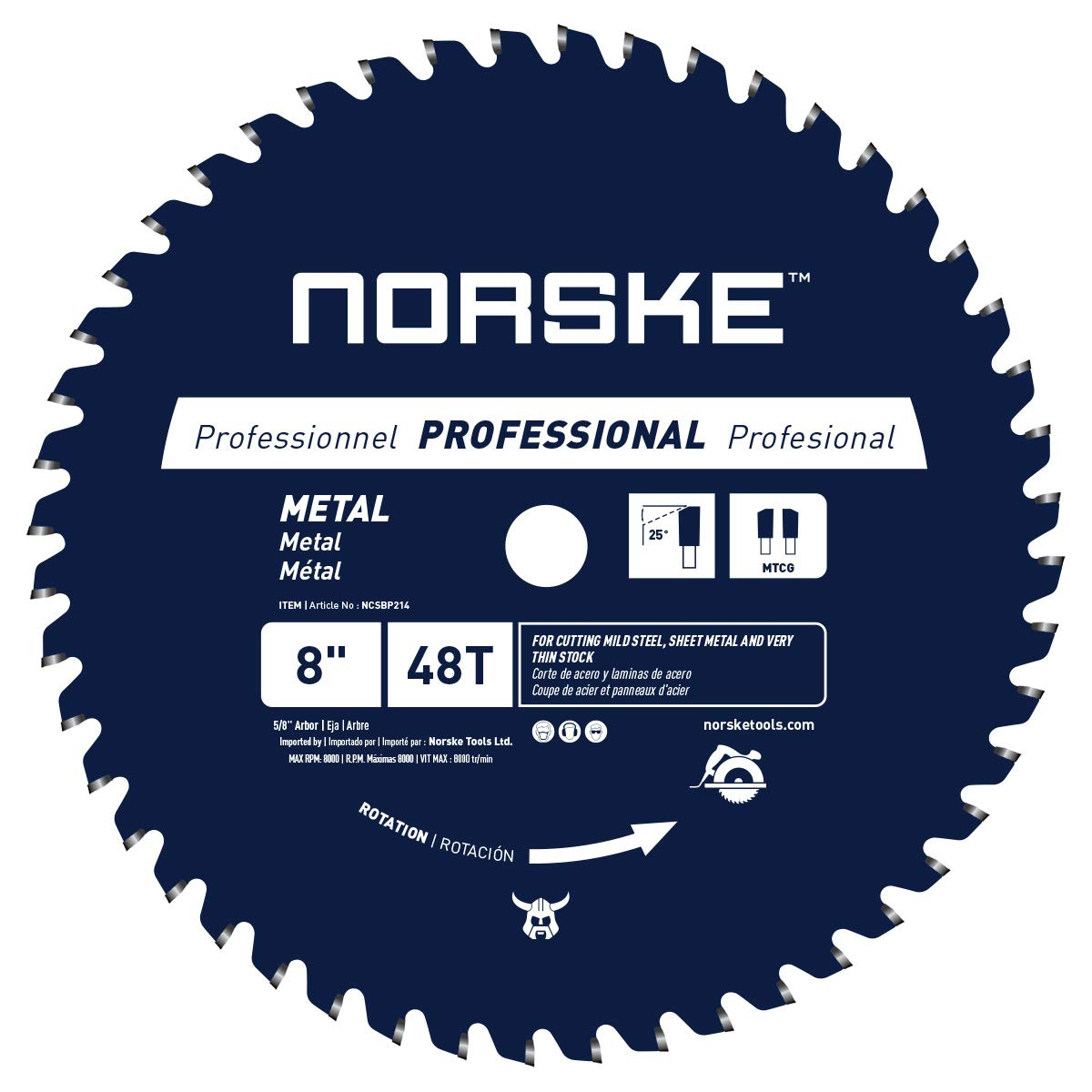 Disco Sierra NORSKE NCSBP214 8 x 48T Corte de metal para t