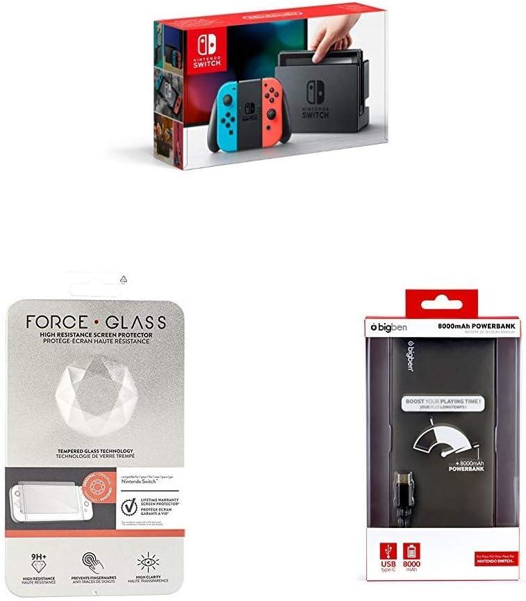 Nintendo Switch - Consola (Azul y Rojo Neón) + BigBen Protector de Pantalla + BigBen Cargador Portátil (8000 mAh): Amazon.es: Videojuegos