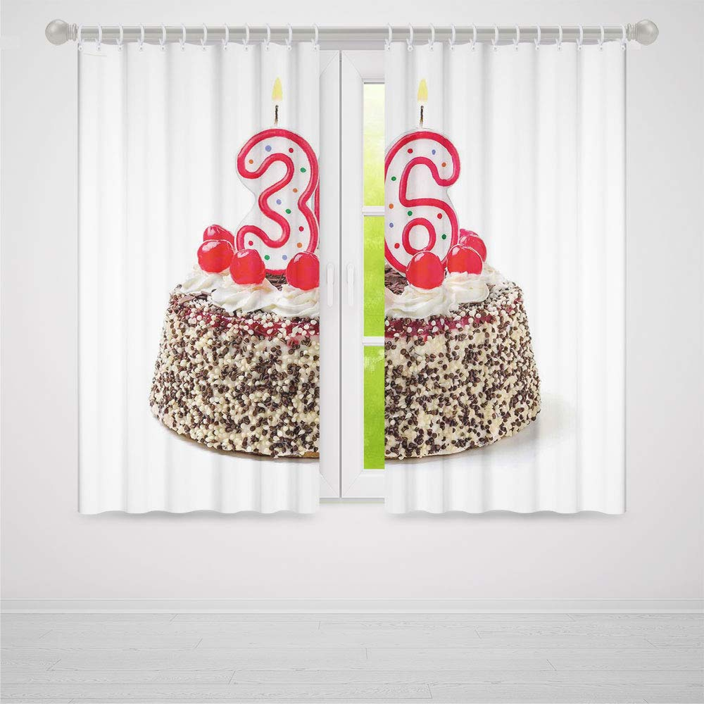 TecBillion Decor Collection,36th Birthday Decorations,for Bedroom Living Dining Room Kids Youth Room,Happy Birthday Party Theme Cake with Candles and Sprinkles Print2 Panel Set,103W X 72L Inches