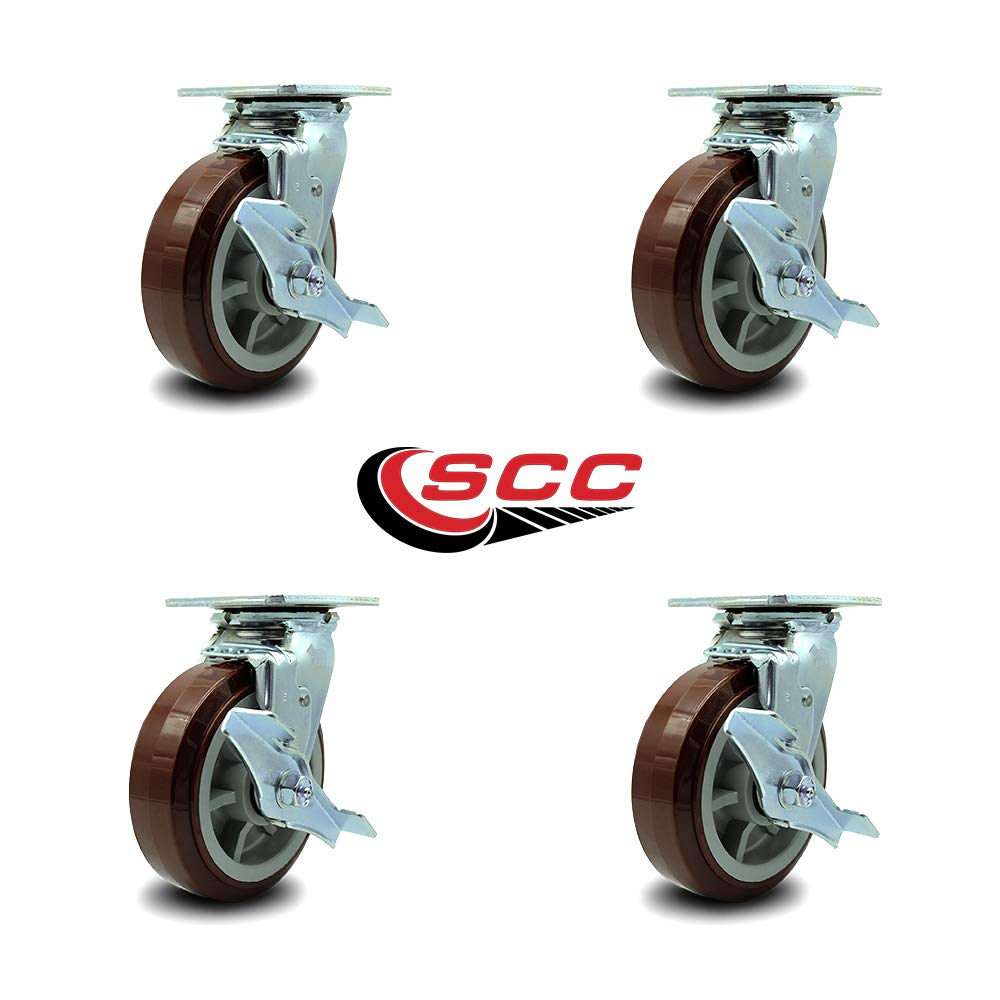 Service Caster - 6'' Heavy Duty Polyurethane Wheel Swivel Casters w/Top Locking Brakes - Non Marking - 750lbs/caster - Set of 4