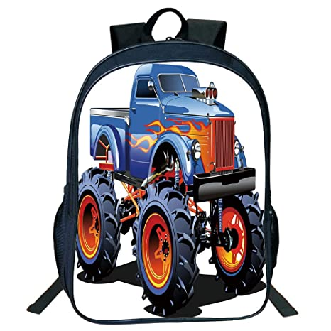 Diversified Style Black Double-Deck Rucksack,Man Cave Decor,Cartoon Monster Truck Huge