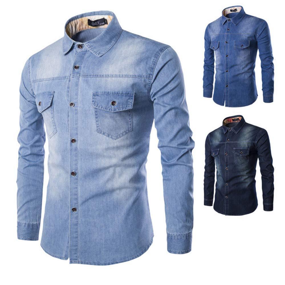 TYLI Mens Shirt Long Sleeve Mens Button Shirt Denim Work Casual Shirt