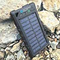 SolarBank - Solar Power Bank Charger, 8000mAh Portable, Waterproof, Shockproof, Dustproof Dual USB Battery Bank for cell phone, smartphone iPhone, Samsung, Android, GoPro, GPS (Black)