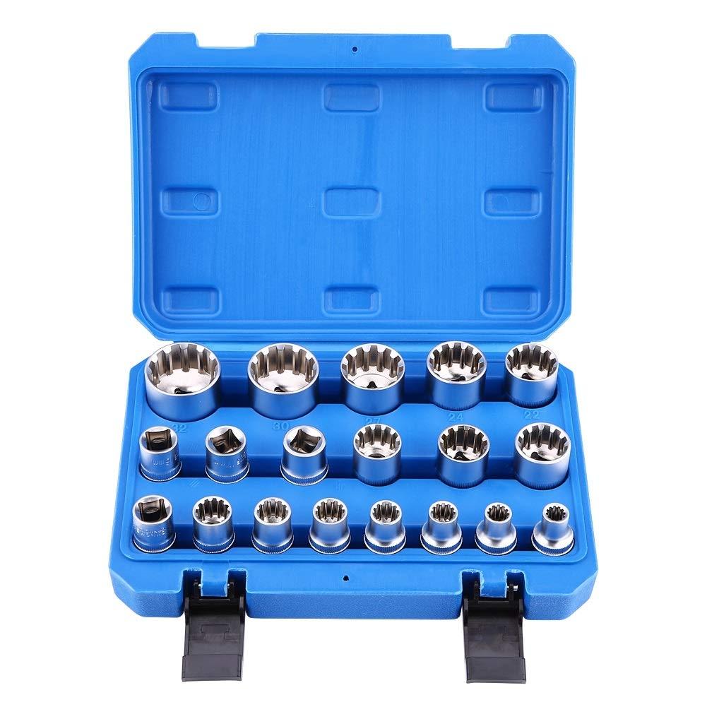 Torx Bit Socket - MAGT Hex Torx Bit Socket, 1/2'' Drive 6 12 Point Hex Torx Splined Bit Socket Set Repair Tool Kit M8-M32 19Pcs by MAGT