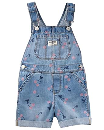 983d495f7 Amazon.com  OshKosh B Gosh Baby Toddler Girl Cherry Denim Shortalls ...
