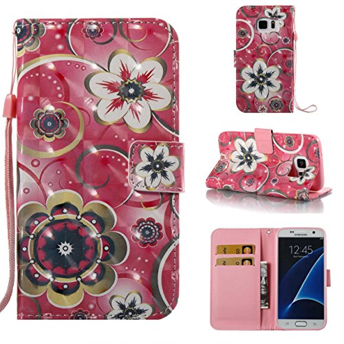 (Galaxy S7 Case,Magnetic PU Wallet Cover Durable Stand Cover Credit Card Holder Flip Folio Shell Cover with Strap Birthday Gift Christmas Halloween Gift for Samsung Galaxy)
