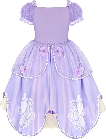 AmzBarley Girls Princess Sofia Dress up Costume Party Dresses for Kids Outfit Childs Halloween Birthday Holiday Pageant Evening Dressing up