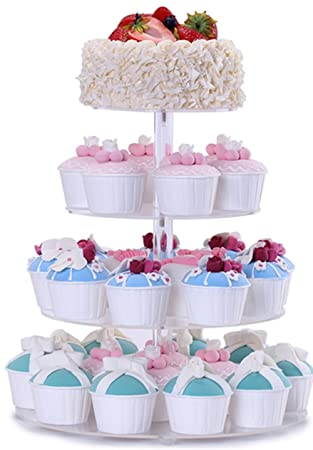 BonNoces 4 Tier Acrylic Glass Round Cupcake Stands Tower   Tiered Cupcake  Carrier   Clear Display