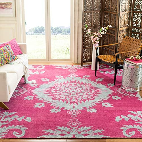 Safavieh Stone Wash Collection STW235C Hand-Knotted Fuchsia Premium Wool Area Rug 9' x 12'