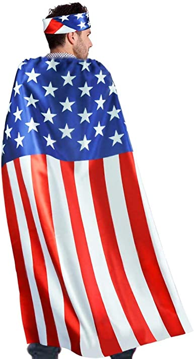 Choose Adult or Child Patriot United States of America USA American Flag Cape