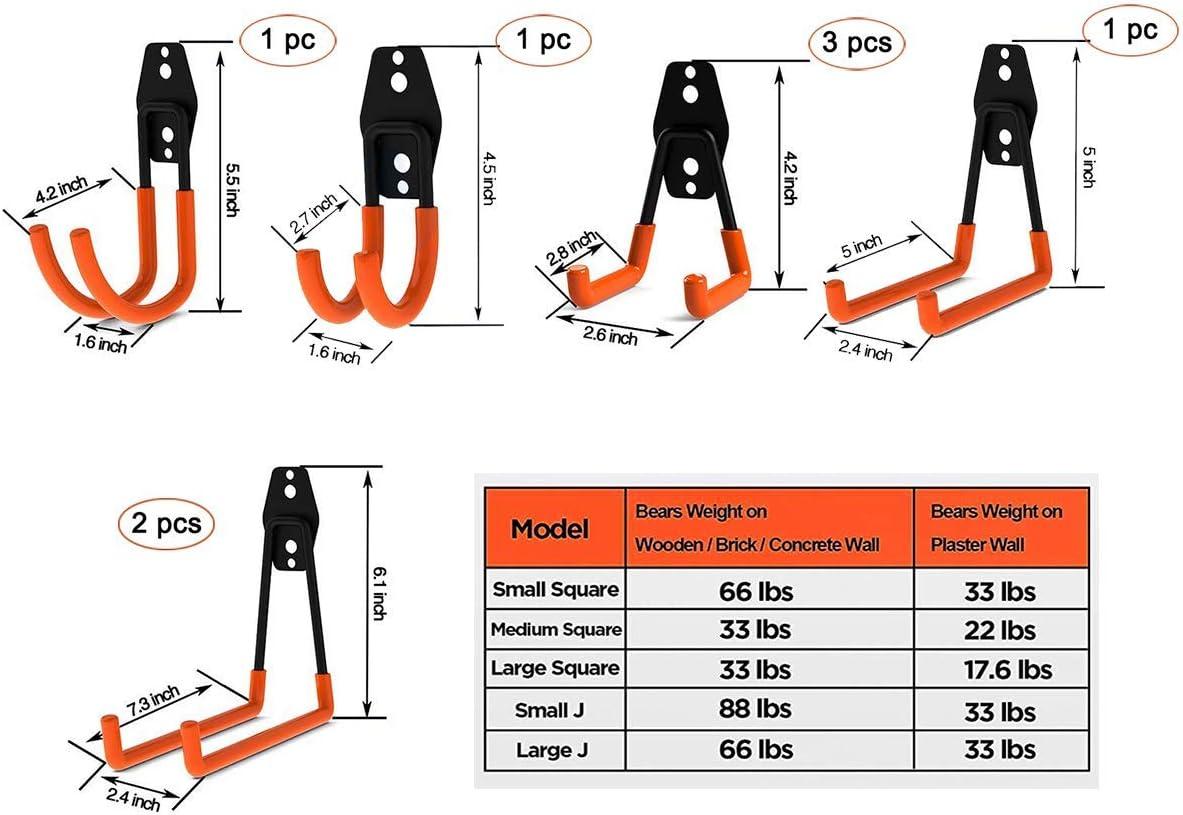 Lot de 8 crochets de rangement pour garage pour organiser les outils /électriques porte-pelle tr/ès r/ésistant les v/élos et les articles en vrac les /échelles utilitaire