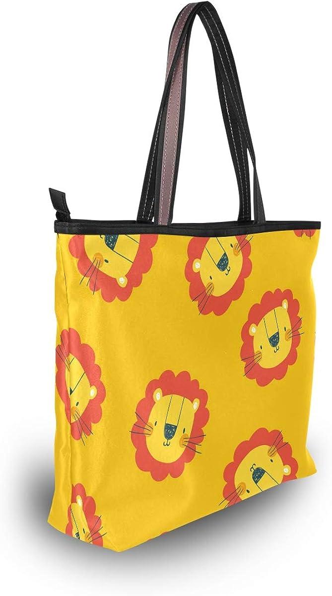My Daily Women Tote Shoulder Bag Cute Lion Head Doodle Handbag