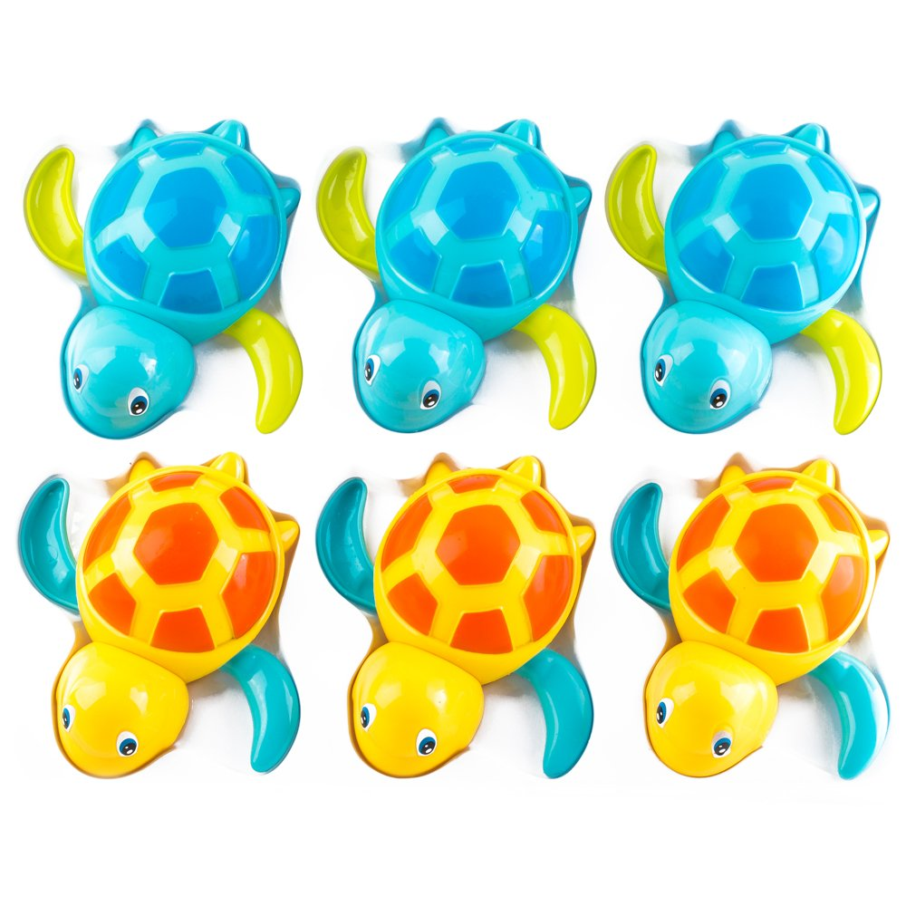 PROLOSO 6 Pack Wind Up Toys Bathtub Turtle Wire Pulling Dolphin Kids Turtle