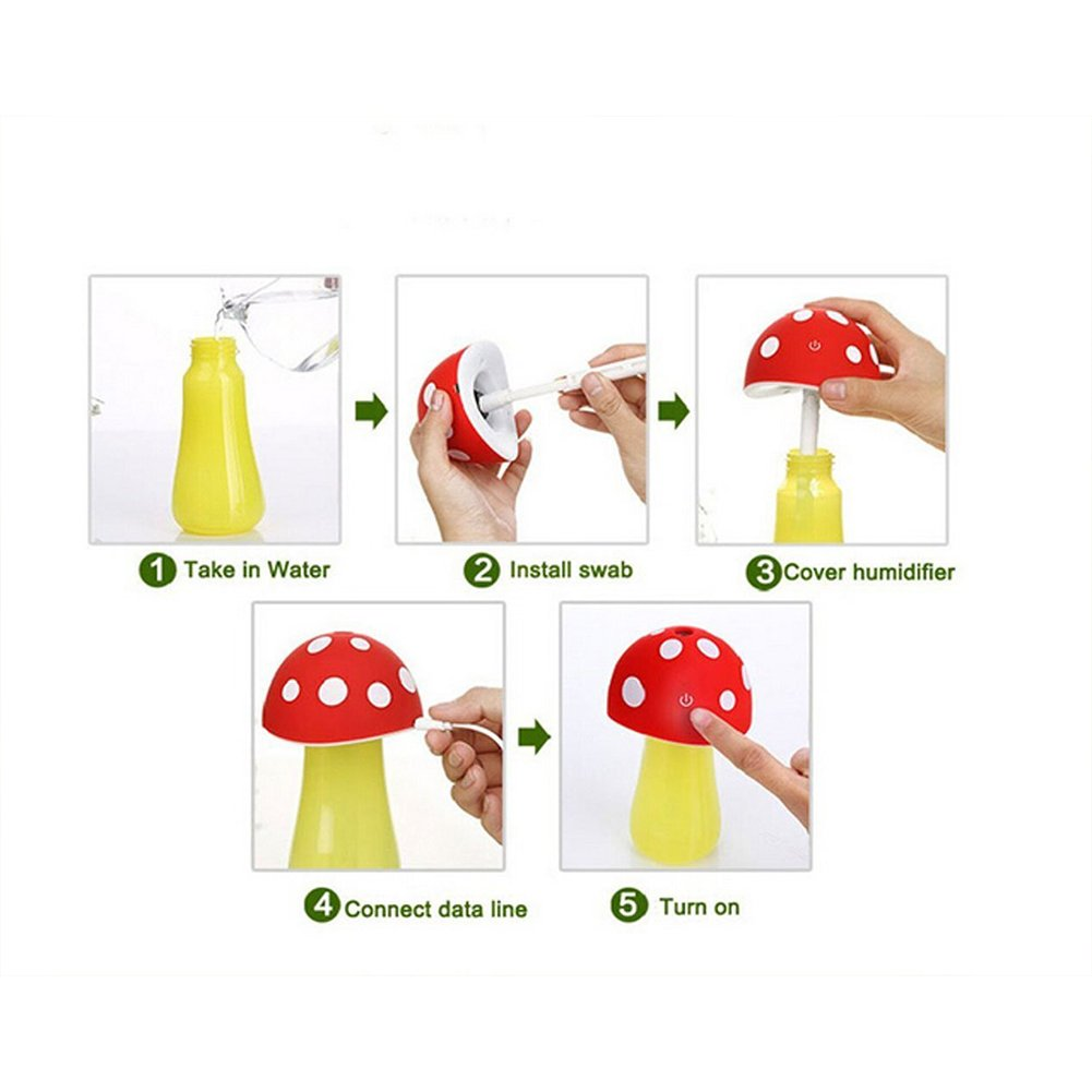 Topbeu Creative Mushroom Shape Ultrasonic Cool Mist USB Baby Room Bedroom Spa Car Humidifier with Auto Shut-off Function (Red) by Topbeu (Image #7)