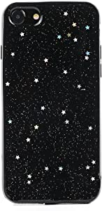TycoonYu iPhone 7 Case Soft Spark Glitter Shine Star TPU Cover Case for iPhone 7 4.7 inch (Black)