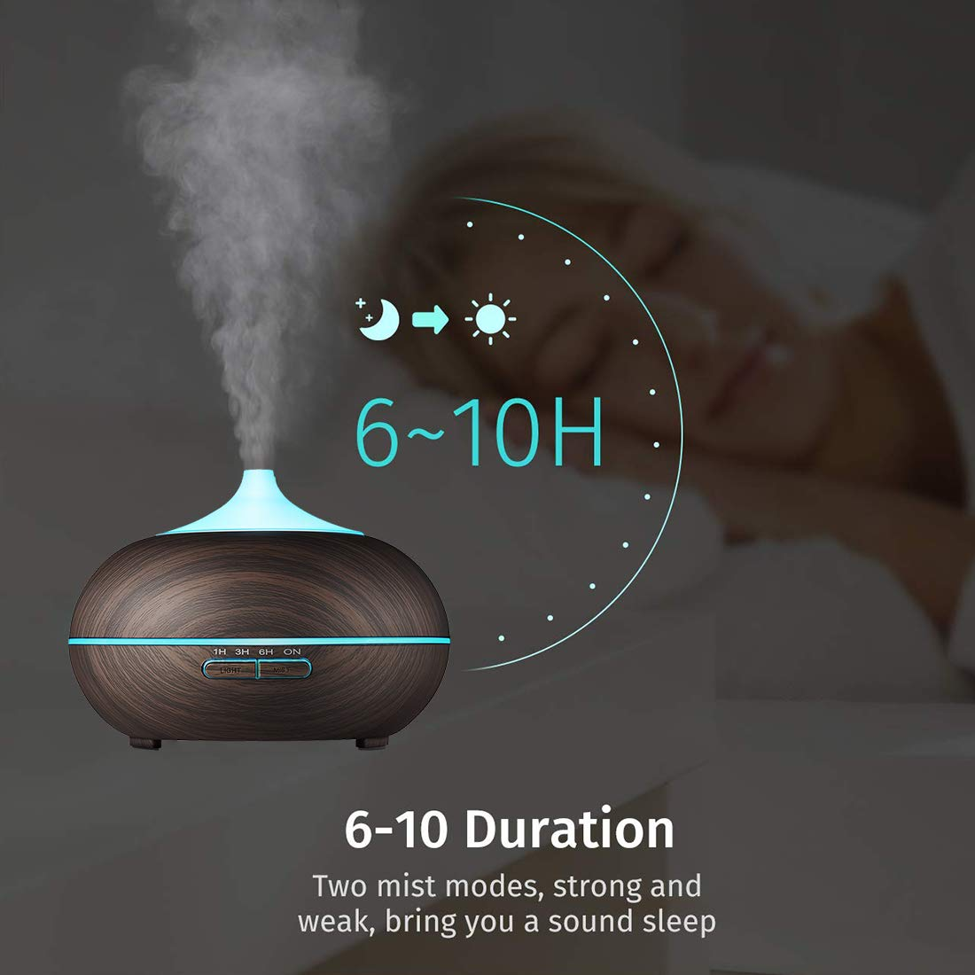 Aromatherapy Diffuser Aroma Essential Oil Diffuser 300ml Air Fragrance Ultrasonic Cool Mist Humidifier 7-Color LED Lights & 4 Timer Settings, Waterless Auto Shut-Off (Deep Brown)