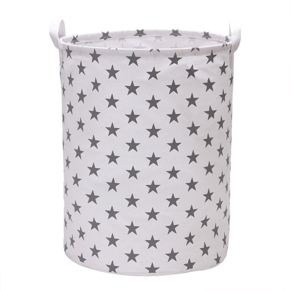 Vagon Laundry Hamper Bucket Cylindric Burlap Canvas Storage Basket with Stylish Stars Design (Grey)