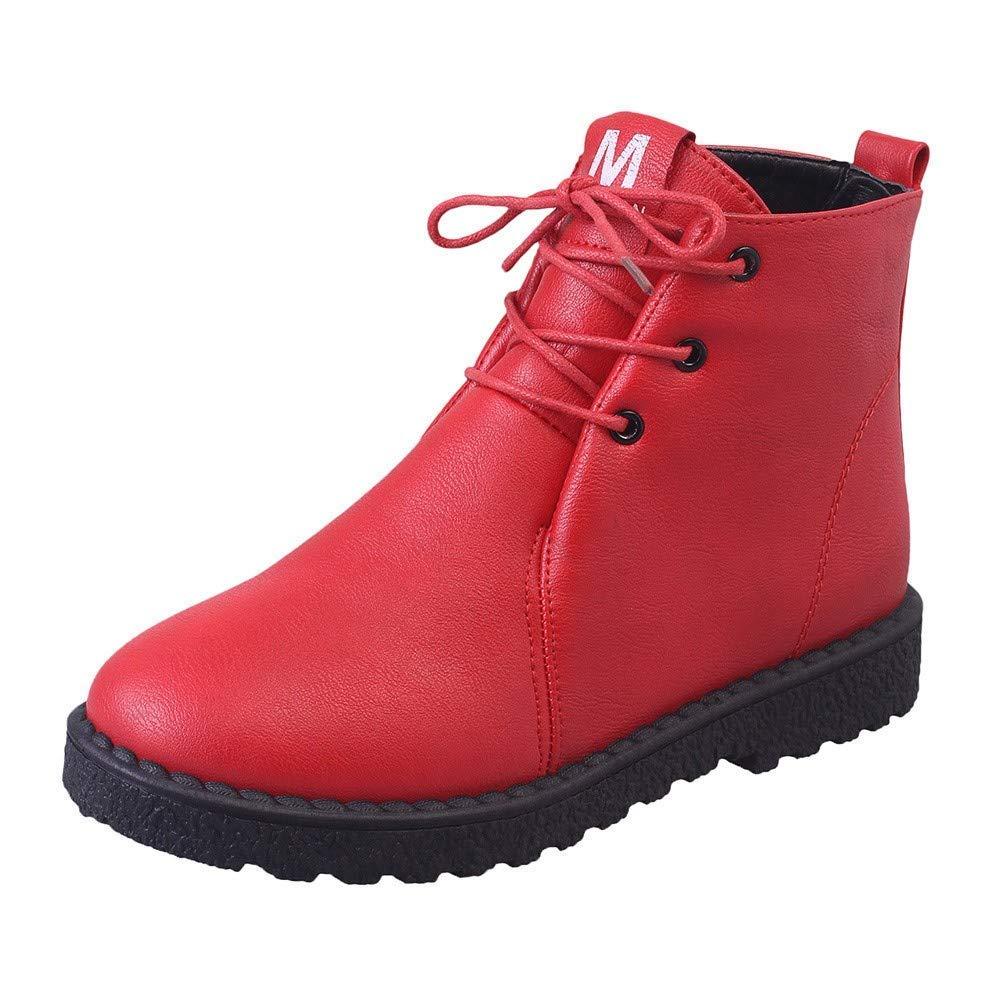 ZHRUI Stiefel Frauen Schuhe Stiefeletten Mode Frauen Winter Schnee Stiefel Warme Baumwolle Schuhe Studenten Stiefel Wasserdichte Martin Stiefel (Farbe   Rot Größe   38)
