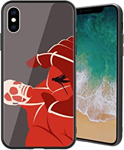 for iPhoneX, Attack on Titan (Shiso no Kyojin) Design 369 Tempered Glass Phone Case, Anti-Scratch Soft Silicone Bumper Ultra-Thin iPhoneX Cover for Teens and Adults
