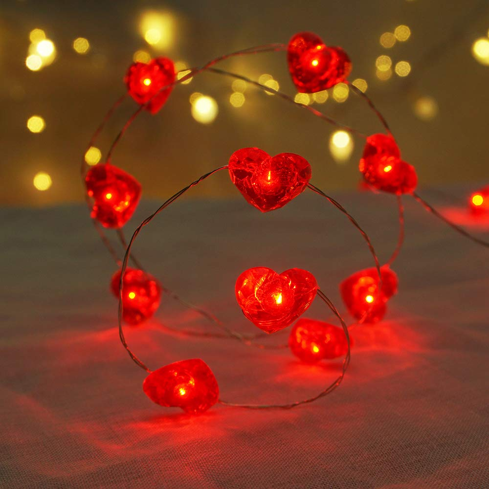 BOHON Fairy String Lights 10 ft 40 LEDs Red Heart Shaped Twinkle Fairy Lights Battery Operated for Kids Bedroom Wedding Indoor Party New Year Décor with Remote & Timer