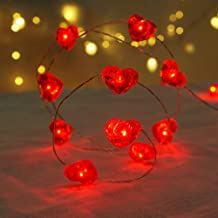 BOHON Fairy String Lights 10 ft 40 LEDs Red Heart Shaped Twinkle Fairy Lights Battery Operated for Kids Bedroom Wedding Indoor Party Valentine's Day Gift New Year Décor with Remote & Timer