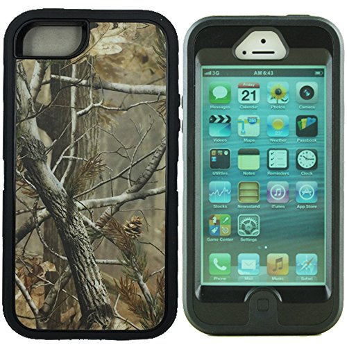 Kecko(TM)For iphone 5 Camo Case,3 in 1 Defender Series Realtree Camo Hunting Tree Camouflage Military Duty Impact Resistant Body Armor Protective Case Cover with Built-in Screen Protector for iphone 5 Only--Orange/Green/Pink Tree Camo on the Core (i5 Tree Black)