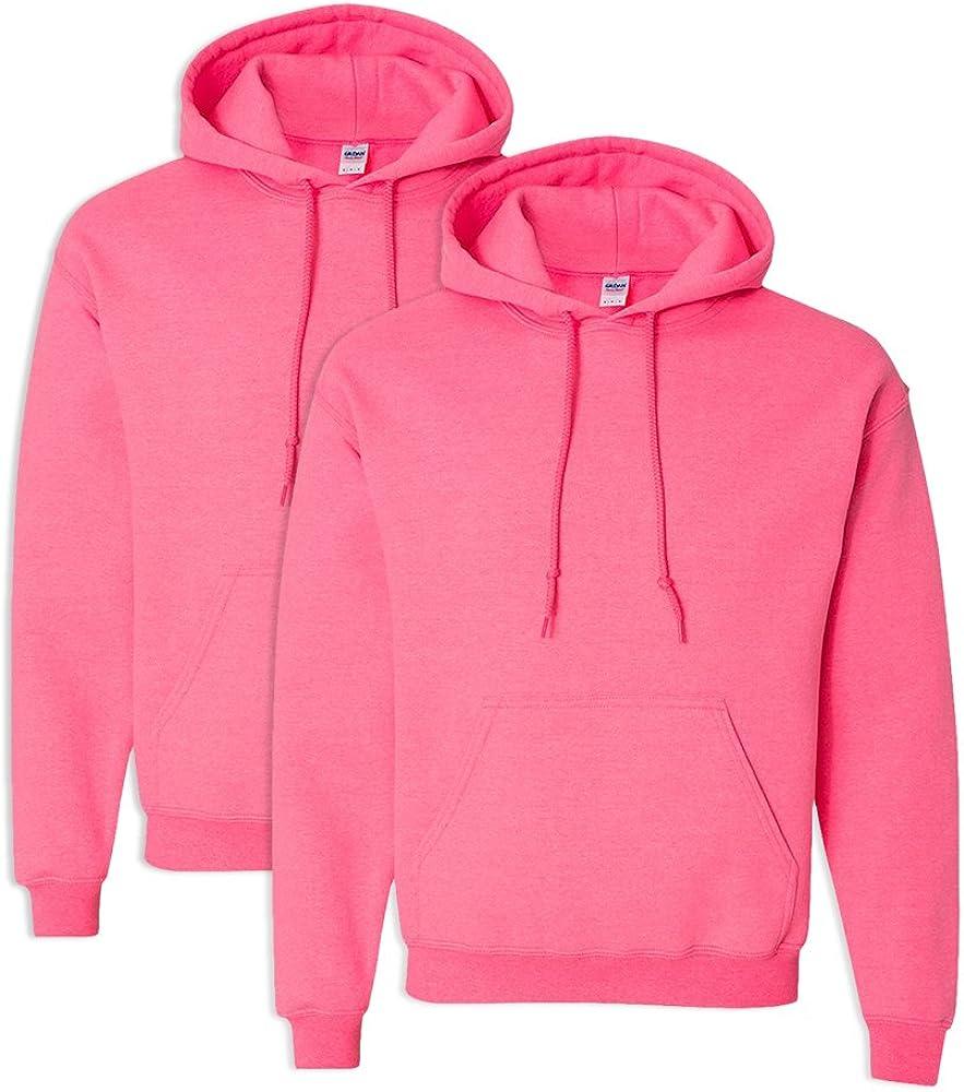 Gildan G18500 Heavy Blend Adult Unisex Hooded Sweatshirt L Safety Pink 2 Pack