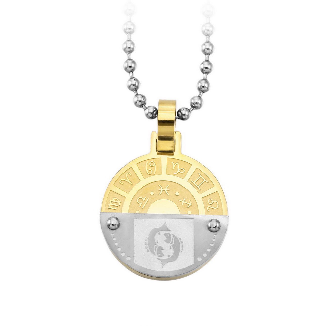 MeMeDIY Silber Golden Ton Edelstahl Anhä nger Halskette Horoskop Tierkreis Sternzeichen, mit 58cm Kette Gravur mit 58cm Kette - Kundenspezifische Gravur de3030208-08