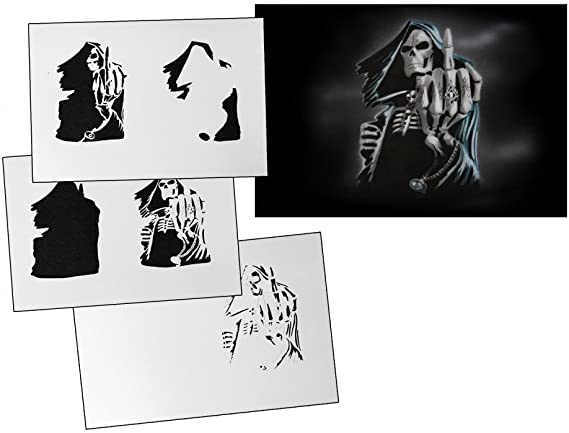 Skull 27 Airbrush Stencil Two Layer Template Spray Vision Best Characters!