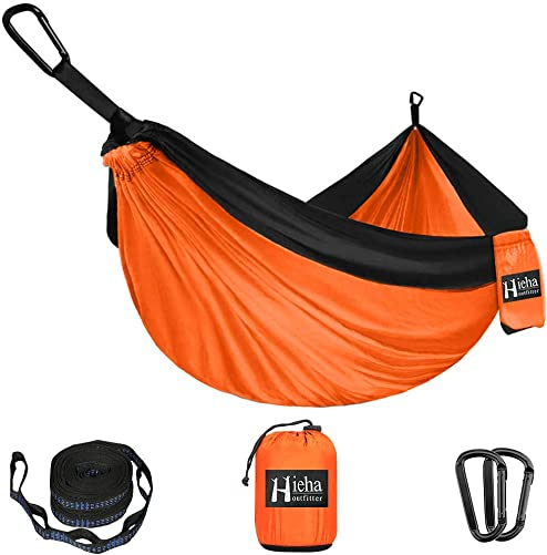 Hieha Camping Hammock – Single Parachute Hammock 2 Tree Straps D-Shaped Carabiners 5 1 Loops 13ft Included Lightweight Nylon Portable Hammock for Hiking, Travel, Backpacking, Beach, Yard Gear